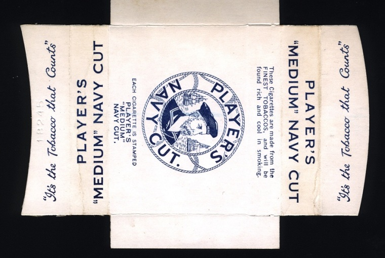 Player's Navy Cut, Blank, c. 1955. Collection of the Petone Settlers Museum.