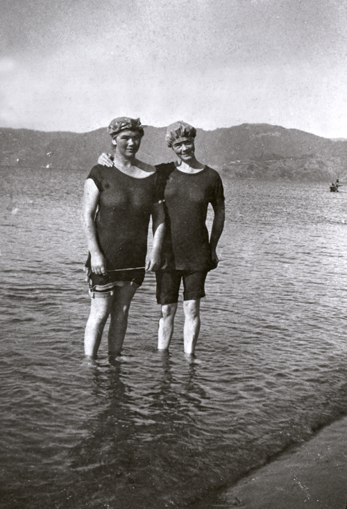 Eva and Ina Drummond at Petone Beach, c. 1918, by Charles Adshead. Collection of Petone Settlers Museum