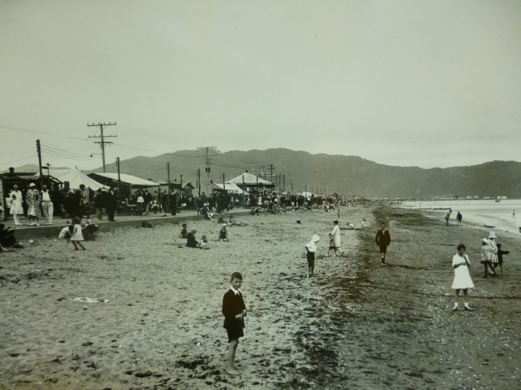 Beach scene at Petone Foreshore, date and photographer unknown.