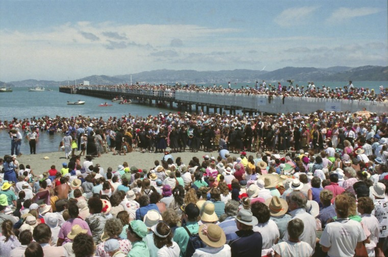 Petone foreshore, Wellington Anniversary settlers arrival re-enactment, 1990. Photographer Alfred Memelink.