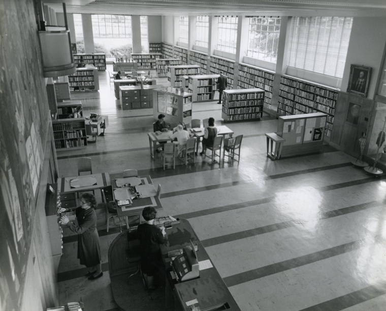Interior of the Lower Hutt War Memorial Library, photographed by Wm. E. Toms / Eastbourne Studio, November 1966. Wm E Toms Collection, Petone Settlers Museum.  Gift of Mrs. Valerie Blennerhassett.