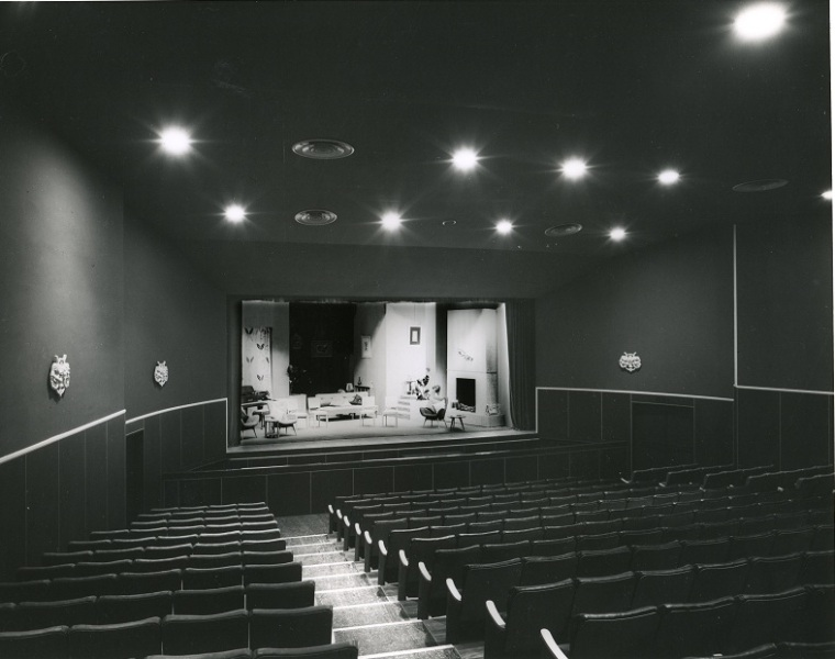 Little Theatre, photographed by Wm. E. Toms / Eastbourne Studios in 1956. Wm E Toms Collection, Petone Settlers Museum. Gift of Mrs. Valerie Blennerhassett.