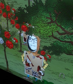 Pruning the Queens roses in Wonderland at ACMI